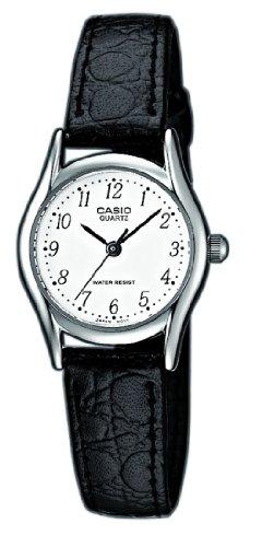 Casio LTP-1154E-7B LTP-1154E-7BEF - Reloj analógico de cuarzo para mujer, correa de cuero color negro