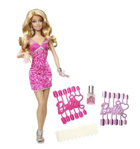Mattel T7434 - Barbie Loves Glitzer-Nägel, Puppe (Nägel Barbie Puppe)
