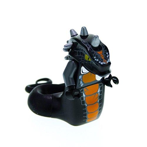 Bausteine gebraucht 1 x Lego System Figur Mann Ninjago Skalidor Torso schwarz orange Kopf Schlange mit Stacheln Schwanz für Set 9450 njo067