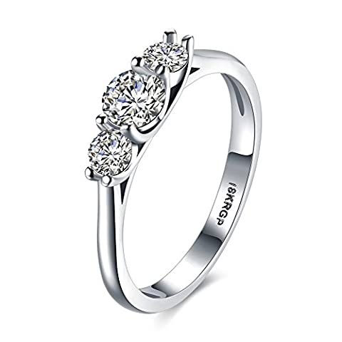 Platinum 18k White Gold Plated with Cubic Zirconia Ring For Women Size7