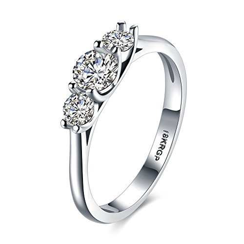 Eternity Love Women Wedding Engagement Rings 18K Gold Plated Trio Cz Diamonds Bands Solitaire Princess Cut Promise Anniversary Bridal Jewelry Infinity Love for Her, JPR835-6-UK