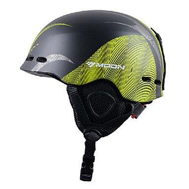 MEEX Luna linee autunno inverno unisex EPS + PC nero + verde super leggero casco da sci, Green, M