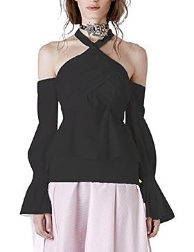 Ropa de frío hombro Backless simples mujeres de cuello Halter Top blusa camisa de manga larga