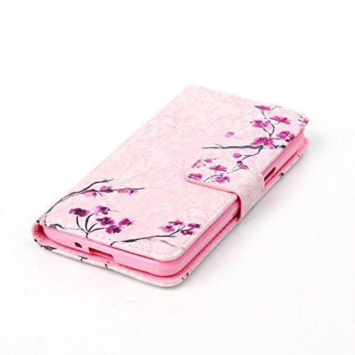 Coque pour Apple iPhone 5S/5,Housse en cuir pour Apple iPhone 5S/5,Ecoway Colorful imprimé étui en cuir PU Cuir Flip Magnétique Portefeuille Etui Housse de Protection Coque Étui Case Cover avec Stand  fleur
