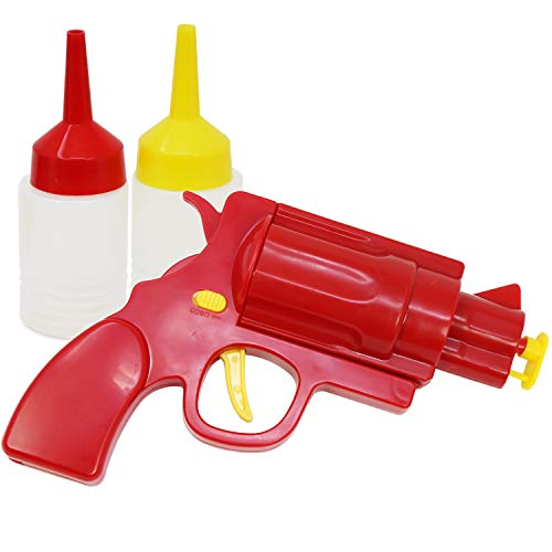 com-four® Pistola de Salsa como Donante para Ketchup y Mostaza, dispensador de Salsa con Botellas exprimibles