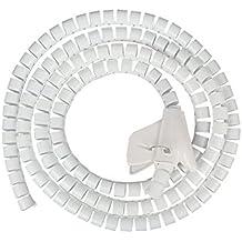 JZK® 1.5 metros cuttable flexible cable ordenado tubo espiral tubo cable organizador de cable envoltura de alambre de manga envolver organizador de alambre para PC TV DVD blanco
