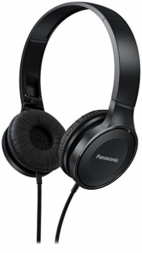 Panasonic On Ear Stereo Headphones RP-HF100ME-K with Integrated Mic and Controller, Travel-Fold Design, Matte Finish, Black