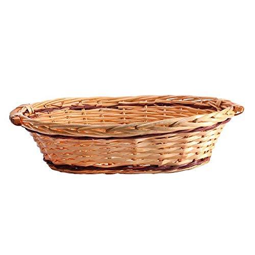 Apac - Bandeja cesta ovalada dos tonos 50-54cm Natural/Rojo