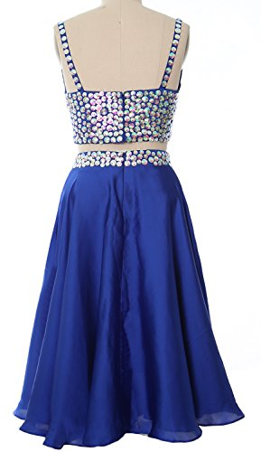 MACloth Women 2 Piece Short Prom Dress 2017 Straps V Neck Cocktail Formal Gown Lavendel