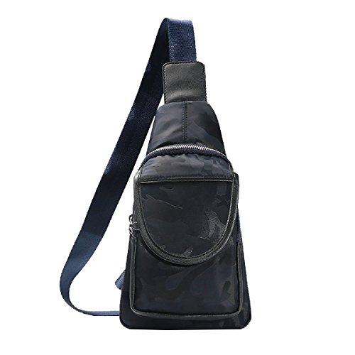 Yy.f Pacchetti Di Viaggio Per Il Tempo Libero Riducendo Il Pacchetto Onere Tasca Sul Petto Valigetta Borsa A Tracolla Uomo Di Pelle PU Moda Maschile Black