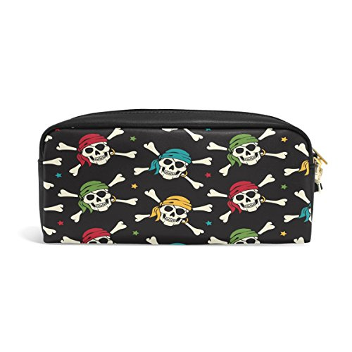 (Domoko Cool Pirat Sugar Skull Star schwarz PU-Leder Pen Pouch Federmappe Fall Make-Up Kosmetik reisen Schule Tasche)