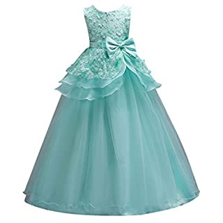 Ai.Moichien Girls Princess Dress Flower Lace Gown Maxi Birthday,Dance,Party Bubble Tulle Dresses Fit for 3-14 Years Kids