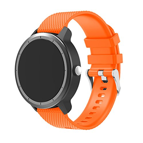 XingWangFa for Garmin Vivoactive 3 Straps Armbands Soft Silicone Sport Armband Replacement Strap for Garmin Vivoactive 3 SmartWatch-Orange -
