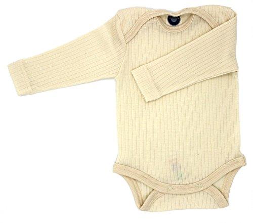Cosilana Baby Body 1/1 Arm, Größe 74/80, Farbe Natur - Exclusiv Wollbody®GmbH - Qualität 91 45% Baumwolle kbA, 35% Schurwolle kbT, 20% Seide