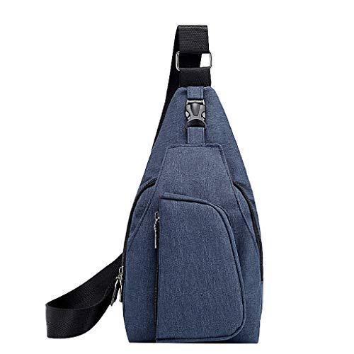 XZDCDJ Crossbody Tasche Männer Brusttaschen Herren Leicht Hüfttasche Männer Sport Oxford Tuch Brusttasche Outdoor Freizeit Multifunktionstasche Blau