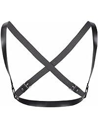 YiZYiF Arnés de Pecho Mujer Lingerie Cinturones de Cuero Arnés de Cintura Ajustable Bodies con Anillos para las Mujeres
