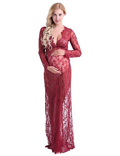 iiniim Damen Schwanger Kleid Spitze Langarm Umstandskleid Tiefer V-Ausschnitt Schwangerschafts Kleid Fotografie Nachtwäsche Nachtkleid M-4XL Weinrot 4XL (Floral Sleepshirt Lace)