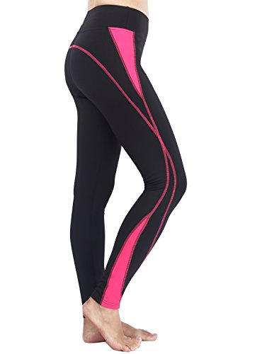 Munvot Neonlichter Sport Leggings Sporthose Fitnesshose Training Tights Sporthose für Damen, Schwarze Rose, Small