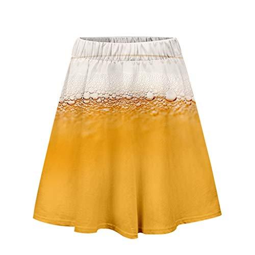 Und Jahre Günstige Kostüm 70er 60er - Dasongff Damen Rock, Bierfest Rock Oktoberfest Kurzer Kleid Sexy Beer Drucken Dress 3-D Printed Casual Minikleid Beer Festival Freizeit Faltenrock Oktoberfest Kostüm Karnevalskostüme