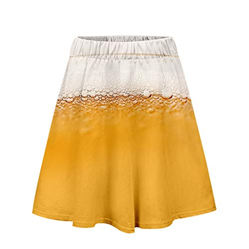 Yuan  Ladies'3D Beer Festival Printing Sexy Easy Casual Short Skirt Damen 3D Oktoberfest Print Lose Freizeitrock