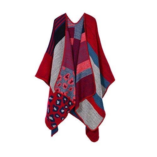 Hippolo da donna color block Open anteriore coperta poncho Dark Blue Mud Leopard Print Red