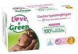 Love & Green Couches Bébé Hypoallergéniques 0% Taille 3 (4-9 kg) 52 couches