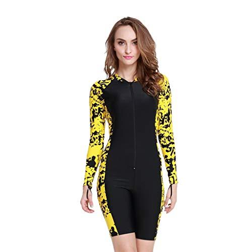 iYmitz Damen Einteiliger Surfanzug UV-Anzug Schutz Schwimmanzug Overall Watersport Schnorchelanzug Wetsuit(Gelb,M)
