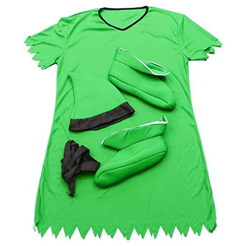 Amosfun Elf Kostüm Rollenspiel Elf Kleidung Hut und Schuhe Outfit Maskerade Halloween Performance für Erwachsene (grün)