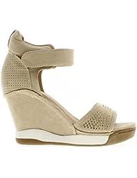 Zapatillas de cuña ascendente abran beige con tacón de 8cm