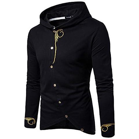 Toamen Nouveau Zip Hooded Manches Longues Sweatshirt - Sweat-shirt à capuche - Homme (XL, Noir)
