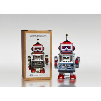 MS-406-Tin-Toy-Robot-Radar-DAVE-Robot-wind-up-de-la-lata-coleccionable
