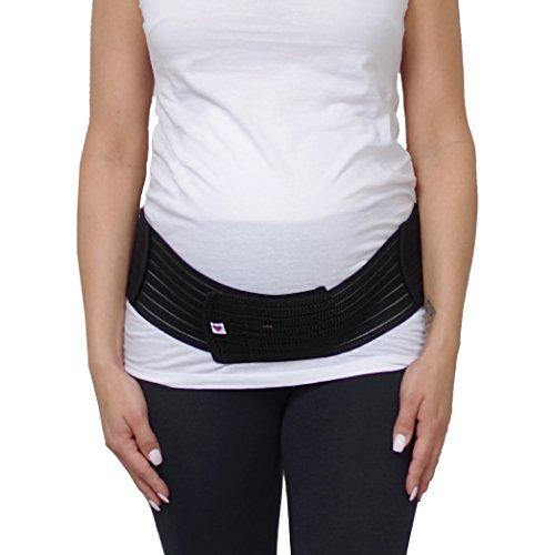 Herzmutter Bauchgurt-Schwangerschafts-Stützgürtel-Bauchband mit Verstellbarem Klettverschluss für Schwangerschaft-Gymnastik-Yoga-Sport, für Damen, Beige-Schwarz-Rosa (3200) (L/XL, Schwarz)
