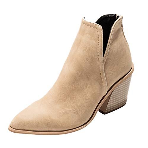 Luckycat Botines Mujer Tacon Cuero PU Tobillo Botas Piel Ankle Boots 8 Cm Cremallera Moda Comodos Verano...