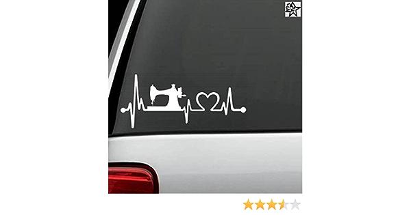 Herzschlag Aufkleber Nähen Nähmaschine 20cm Sticker Herz Fan Hobby Leidenschaft Liebe Für Auto Autoaufkleber Auto