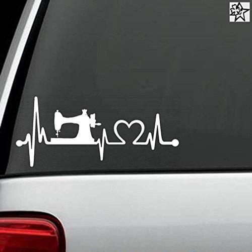 Herzschlag Aufkleber Nähen Nähmaschine 20cm Sticker Herz Fan Hobby Leidenschaft Liebe für Auto Autoaufkleber (Leidenschaft Für Das Backen)