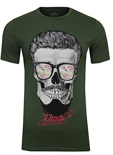 JACK & JONES Herren T-Shirt Festival Flower Support Tee Crew Neck Bart Skull Totenkopf Schädel Print Sonnenbrille, (Thyme,S)