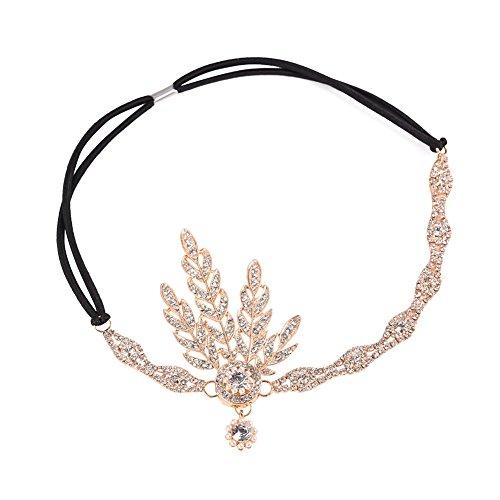 iShine Kopfschmuck Damen Stirnbänder für Braut Brautjungfer mit Strass Künstliche Perle Frauen Mädchen für Party Fest Tanzabend Einstellbar Größe Prinzessin Königin Stil Retro 1921s Golden