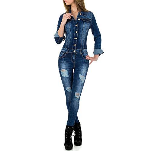 Ital-Design Destroyed Jeans Jumpsuit Overall Original Denim Gr. XL Blau