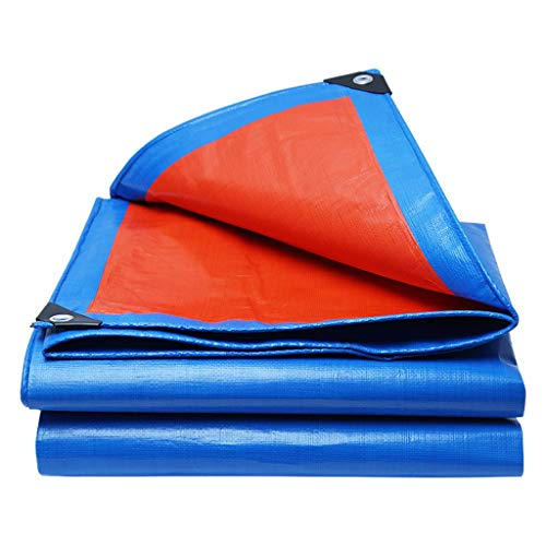 JDiled Abdeckplane Wasserdicht,Hochfestes PE-Material Einseitig Orange/Einseitig Blau 160 g/m² Viereck Mit Verzinkten Knopflöchern (größe : 2m*2m)