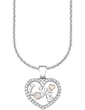 s.Oliver Kinder-Kette Mädchen mit Herz-Anhänger und Schriftzug LOVE aus 925 Sterling Silber teil-rosévergoldet