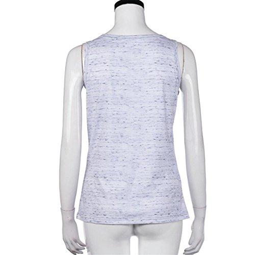 CYBERRY.M Débardeurs Femme Été Casual Sans Manches Lettre Imprimé T-shirt Tank Top Blouse Gris
