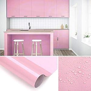 KINLO Aufkleber Küchenschränke rosa 61x500cm aus hochwertigem PVC Küchenfolie Klebefolie Tapeten Küche selbstklebende Folie Küche wasserfest Aufkleber für Schrank Möbelfolie Dekofolie MIT GLITZER