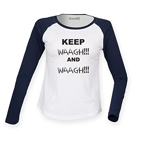 Brand88 - Keep Waagh and Waagh! Damen Langarm Baseball T-Shirt Weiss & Blau