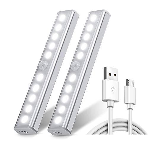 Chesbung [2 pezzi ricaricabile usb 10 luci led armadio sensore movimento per illuminare armadi striscia magnetica adesiva luce per armadio scale corridoio cucina garage auto/on/off -bianco