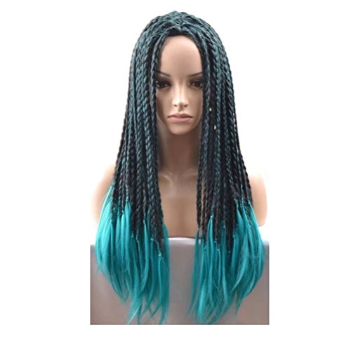 COSPLAZA Perücke Green Black Long Braided Adult Braids Halloween Costume Wig Synthetic Full Hairs For Women (Womens Adult Kostüme Perücken)