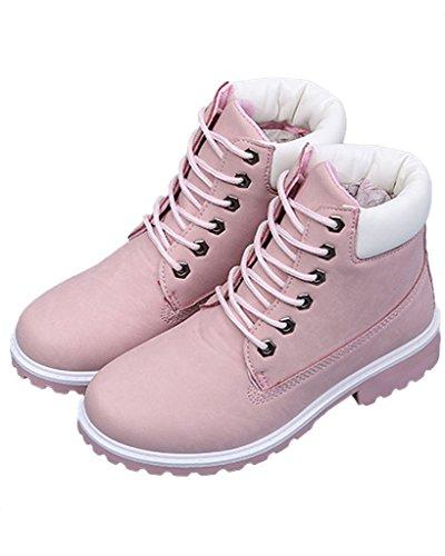 Minetom Donna Autunno Inverno Punta Rotonda Lace Up Neve Stivali Snow Boots Antiscivolo Stivali Cavaliere Martin Stivali Pink