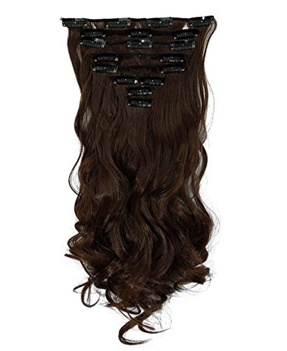 S-noilite® set 8pcs 43cm extension capelli clip nelle estensioni dei capelli della parte dei capelli ondulato o liscio pieno testa vari colori marrone medio