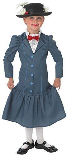 Offiziell Disney Mädchen Mary Poppins Reich Viktorianisch Buch Tag Woche Verkleidung Kleid Kostüm Outfit Alter 3-10 jahre - Blau, 146-152 (Mary Poppins Kostüm Weiß)