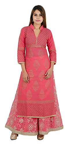 Zoeyam's Women's Cotton Kurta (Zc0164--Xl, Peach, X-Large)