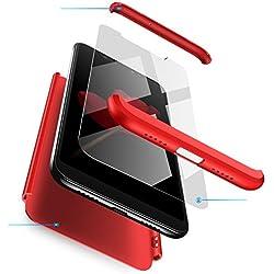 Jardire Compatible Coque Huawei V9(Honor 8 Pro)-Rouge, [360 degrés Protection] 3 en 1 PC Huawei Case [Ultra Léger Simple] Anti Choc, Envoyer 2 pièces HD Verre trempé Film Protection en écran